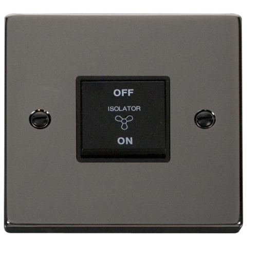 Click Scolmore 10A 3 Pole Fan Isolation Switch - Black - (Black Nickel)