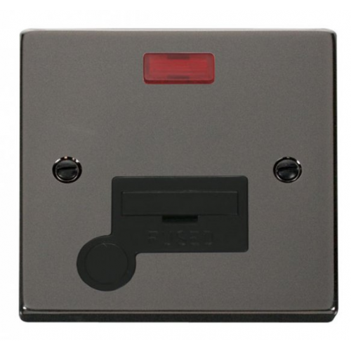 Click Scolmore 13A Fused Connection Unit With Neon With Optional Flex Outlet - Black - (Black Nickel)