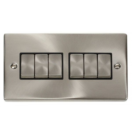 Click Scolmore 10AX Ingot 6 Gang 2 Way Plate Switch - Black - (Satin Chrome)