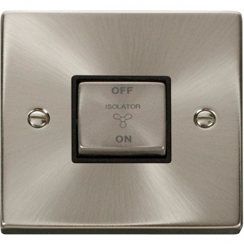 Click Scolmore 10A Ingot 3 Pole Fan Isolation Plate Switch - Black - (Satin Chrome)