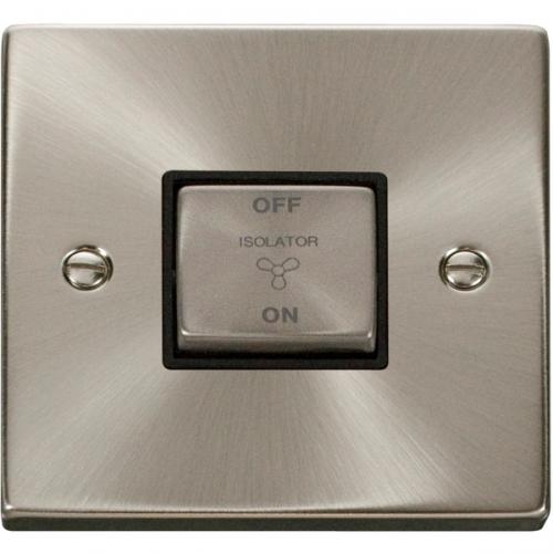 Click Scolmore 10A Ingot 3 Pole Fan Isolation Plate Switch - Black - (Satin Chrome)