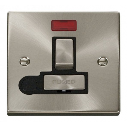 Click Scolmore 13A Ingot Dp Switched Fused Connection Unit With Neon & Optional Flex Outlet - Black - (Satin Chrome)