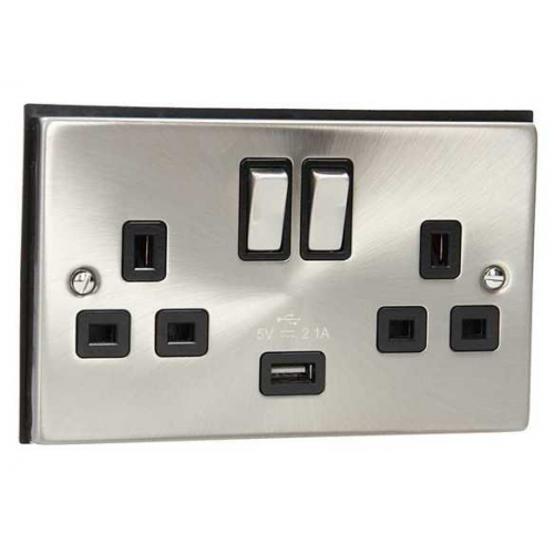 Click Scolmore 13A Ingot 2 Gang Switched Sockets With 2.1A Usb Outlet (twin Earth) - Black - (Satin Chrome)