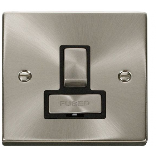 Click Scolmore 13A Ingot Dp Switched Fused Connection Unit Without Flex Outlet - Black - (Satin Chrome)