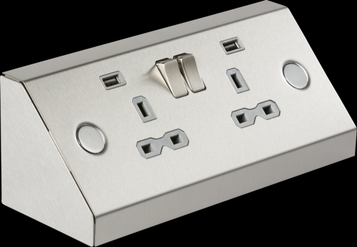 Knightsbridge 2G Mounting Switched Socket with Dual USB Charger (2.4A) (Steel)