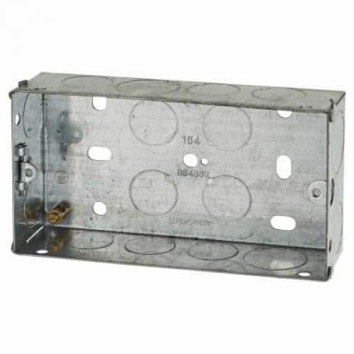 2 Gang Flush Back Box with Knockout - 25mm - Galvanised