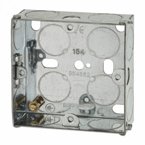 1 Gang Flush Back Box with Knockout - 25mm - Galvanised