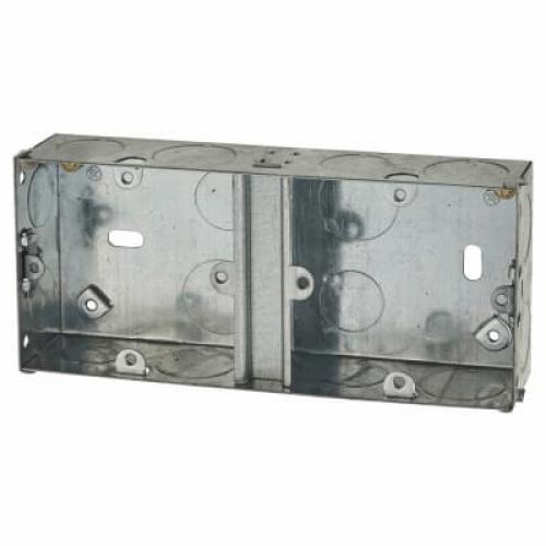1 + 1 Gang Flush Back Box with Knockout - 35mm - Galvanised