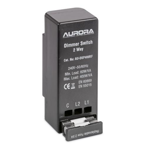 Aurora Lighting 60-400VA 1 Gang 2 Way Rotary Dimmer (Black)