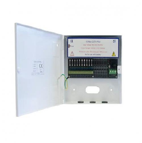 RGL 10 Way 10 Amp Metal Boxed Power Supply for CCTV (White)