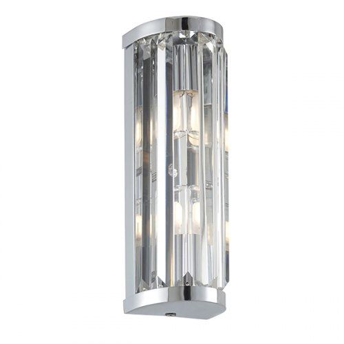 Endon Lighting Shimmer 2lt Wall Chrome plate & clear crystal Dimmable