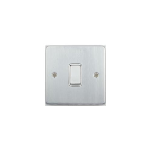 Scheider Electric Ulp Brushed Chrome White Insert 1 Gang Intermediate 16AX Plate Switch