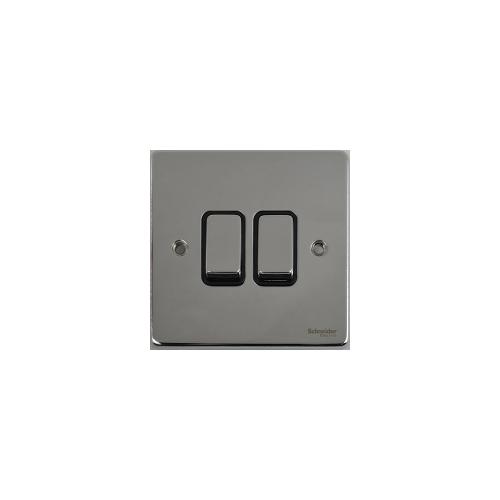 Scheider Electric Ulp Polished Chrome Black Insert 2 Gang 2 Way 16AX Plate Switch