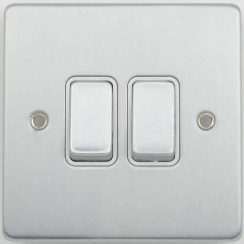 Schneider Electric Ultimate Low Profile 2G Switch 2 Way (Brushed Chrome)
