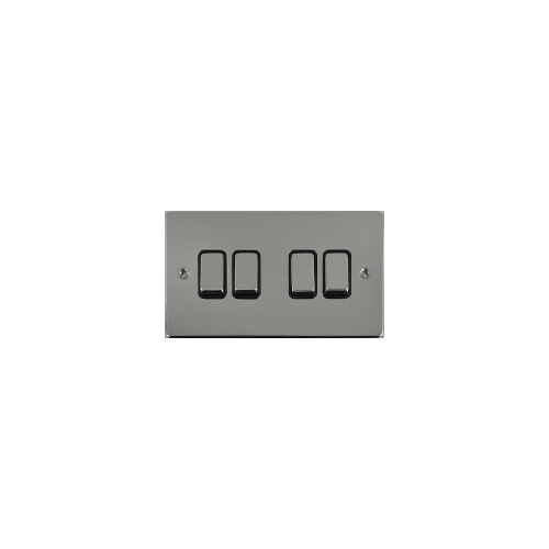 Scheider Electric Ulp Polished Chrome Black Insert 4 Gang 2 Way 16AX Plate Switch