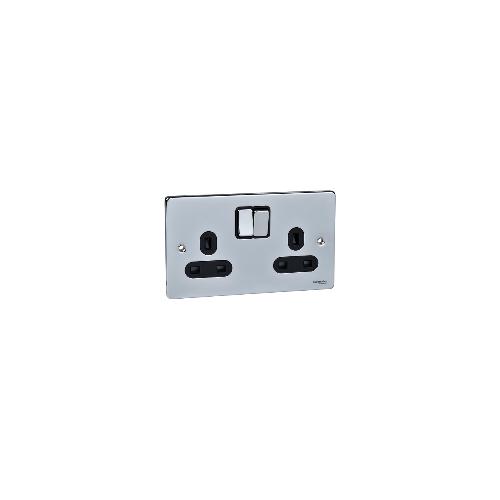 Scheider Electric Ulp Polished Chrome Black Insert 2 Gang 13A Switched Socket