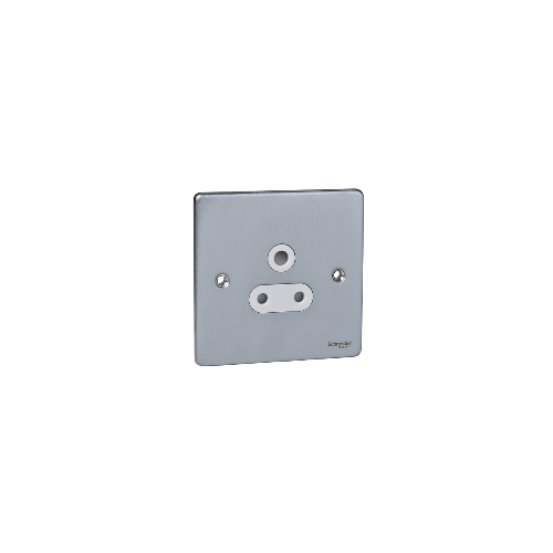 Scheider Electric Ulp Brushed Chrome White Insert 1 Gang 5A Round Pin Unswitched Socket