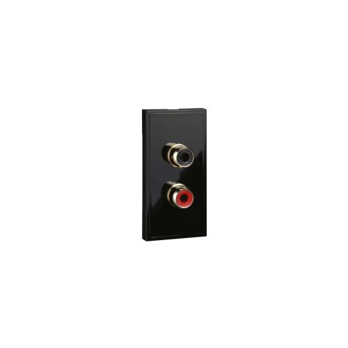 Scheider Electric Euro Module Black 2 X Rca Socket - 25 X 50mm