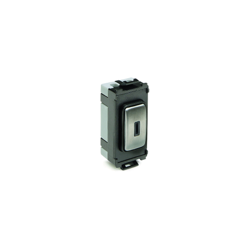 Schneider Electric Ultimate 20AX Double Pole Key Switch Grid Module (Stainless Steel)