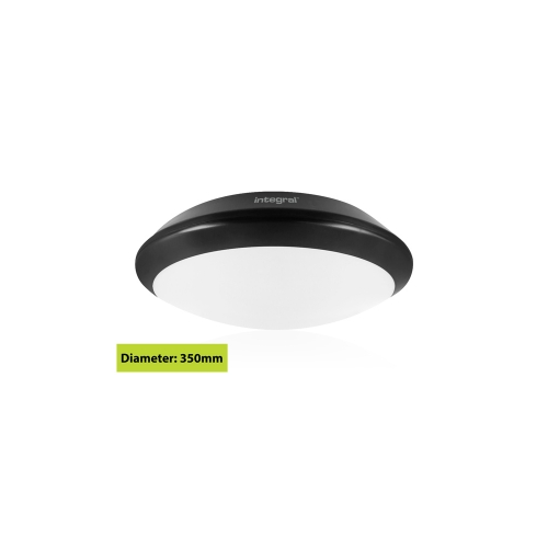Integral Black Tough Shell+ Bulkhead IP66 15W 1500Lumens 4000K Dimensions: 308 X H88mm, Microwave Sensor (Black)