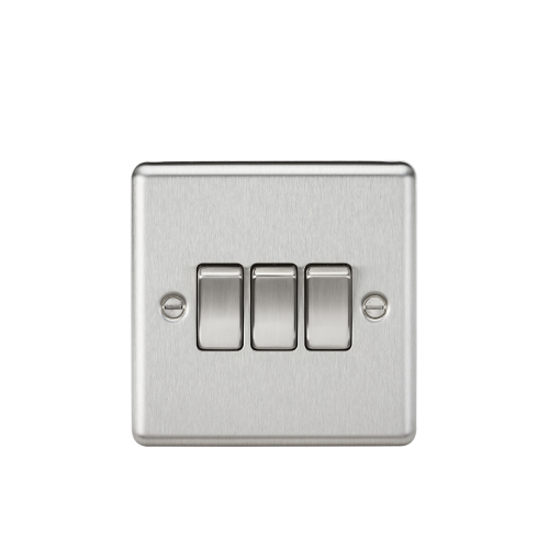 ML Accessories Rounded Edge 10A 3G 2 Way Plate Switch (Brushed Chrome)