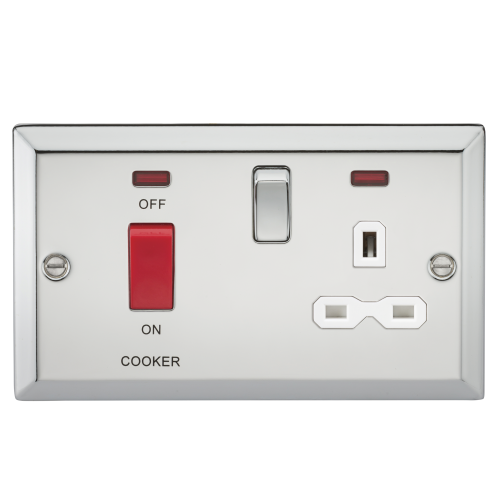 Electric WALL Fitting NEON Light SOCKET 45A DP COOKER CONTROL SWITCH