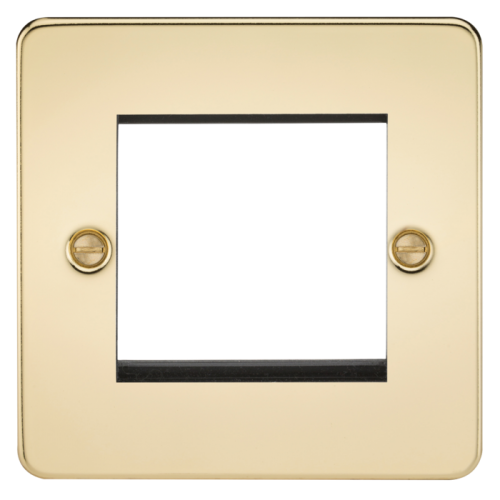 ML Accessories Flat Plate 2G Modular Faceplate (Polished Brass)