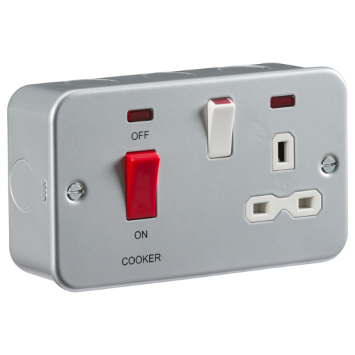 ML Accessories Metal Clad 2G 45A DP Cooker Switch with 13A Socket (Silver)