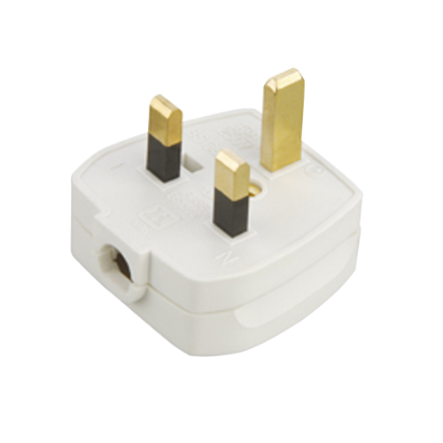 Knightsbridge Rough Use Plug Top 13 Amp FusedClamp Type Cord Grip (White)