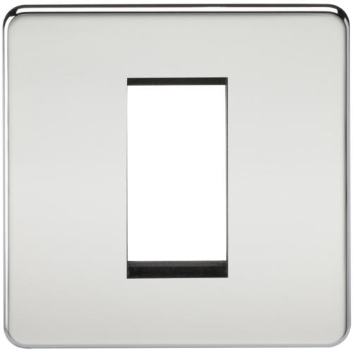 ML Accessories Screwless 1G Modular Faceplate (Polished Chrome)