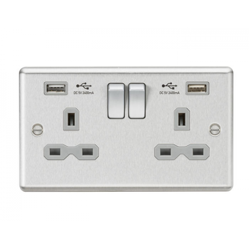 ML ACCESSORIES 13A 2G Switched Socket Dual Usb Charger (2.4A) With Grey Insert - Rounded Edge (Brushed Chrome)