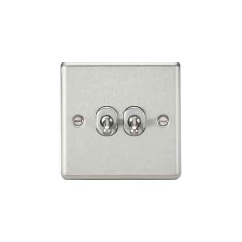 ML ACCESSORIES 10A 2G 2 Way Toggle Switch - Rounded Brushed Chrome Finish