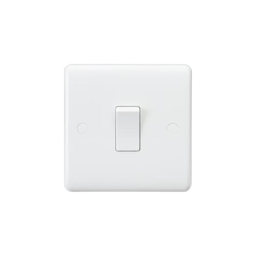 Knightsbridge Curved Edge 10AX 1G 1-Way Switch (White)