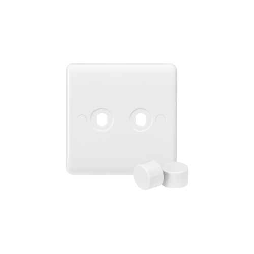 Knightsbridge Curved Edge 2G Dimmer Plate with 2 Matching Dimmer Caps (White)