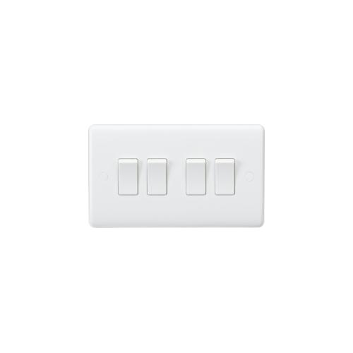 Knightsbridge Curved Edge 10AX 4G 2-Way Switch (White)