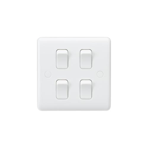 Knightsbridge Curved Edge 10AX 4G 2-Way Switch  (on single plate) (White)