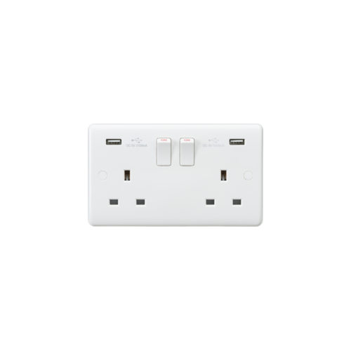 Knightsbridge Curved Edge 2G Switched Socket with Dual USB Charger  (5V DC 3.1A shared) (White)