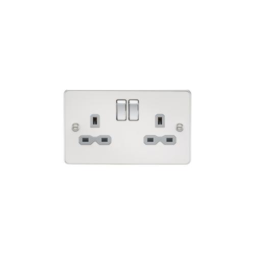 Knightsbridge Flat plate 2G DP switched socket (Chrome)