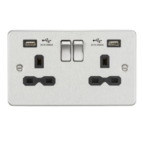 Knightsbridge Flat plate 2G switched socket with dual USB charger (2.4A) (Chrome)