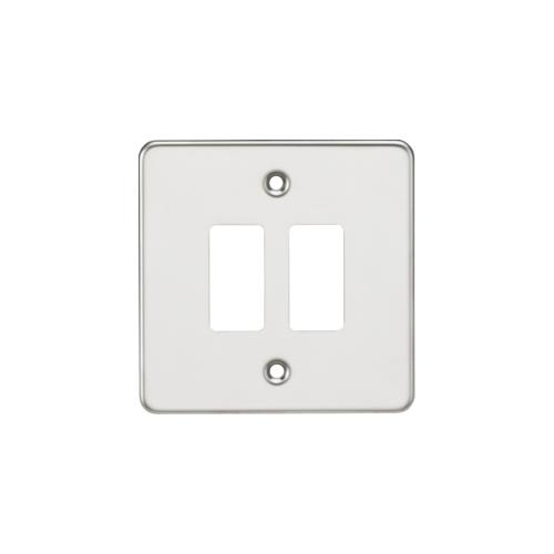 Knightsbridge Flat plate 2G grid faceplate (Chrome)