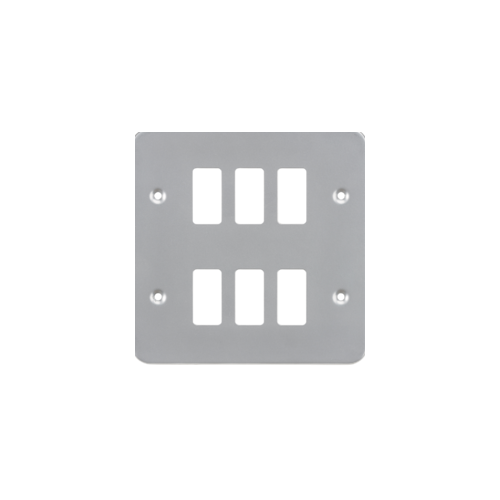 Knightsbridge Metalclad 6G grid faceplatePowder-coated  (Silver)/ (Grey)