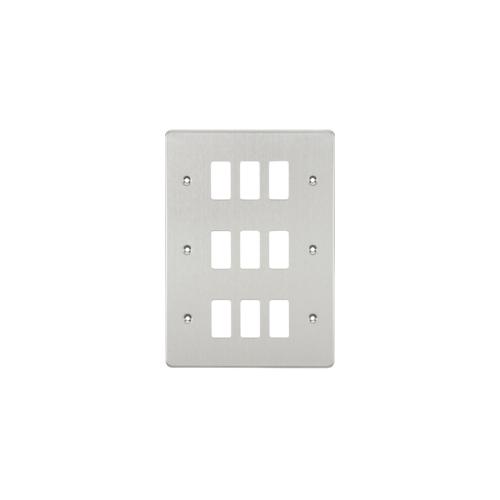 Knightsbridge Flat plate 9G grid faceplate (Brushed Chrome)