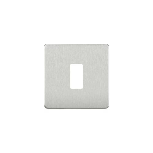 Knightsbridge Screwless 1G grid faceplate (Brushed Chrome)