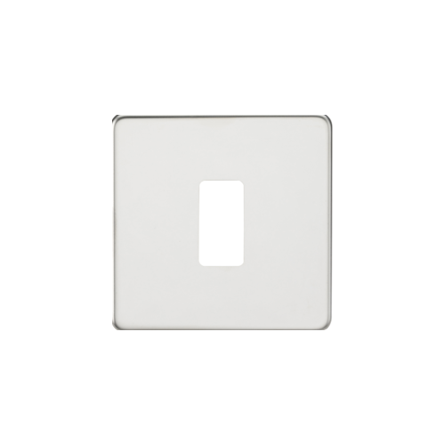 Knightsbridge Screwless 1G grid faceplate (Chrome)