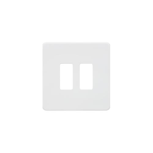 Knightsbridge Screwless 2G grid faceplate (White)