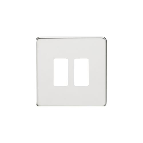 Knightsbridge Screwless 2G grid faceplate (Chrome)