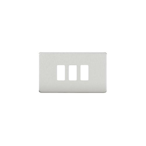 Knightsbridge Screwless 3G grid faceplate (Brushed Chrome)