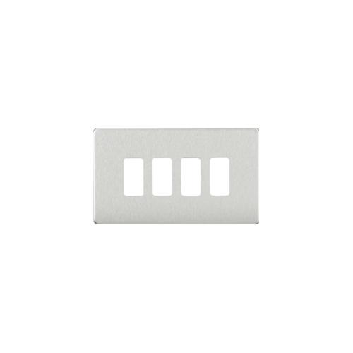 Knightsbridge Screwless 4G grid faceplate (Brushed Chrome)