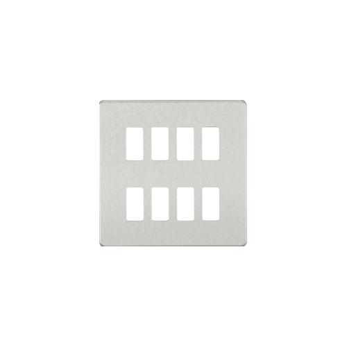 Knightsbridge Screwless 8G grid faceplate (Brushed Chrome)