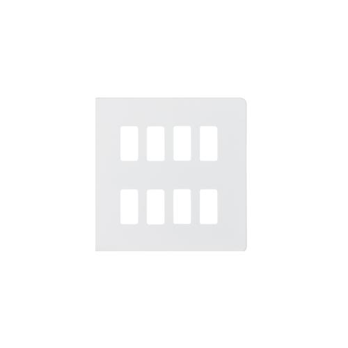 Knightsbridge Screwless 8G grid faceplate (White)